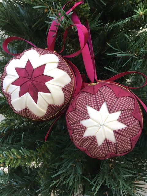 Folded Fabric No Sew Complete Christmas Ornament Kit.  Burgundy and Cream Ball kit.