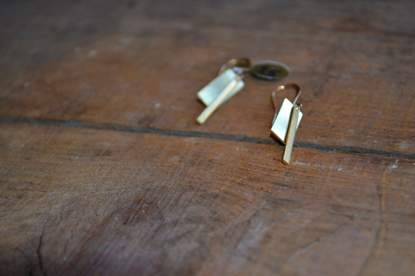 Gold Layered Rectangle Dangle Earring E0027