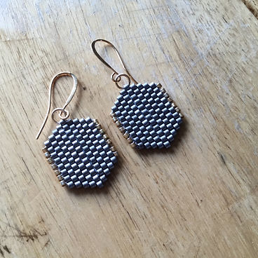 Delica, Seedbead, Seedbeads, Beaded, Beaded Earrings, Gold, Grey, Foxy Hardware, Handmade, Hand Crafted, Boho, Bohemian, Bohostyle, Bohoglam, Minimalist, Minimalist Earrings