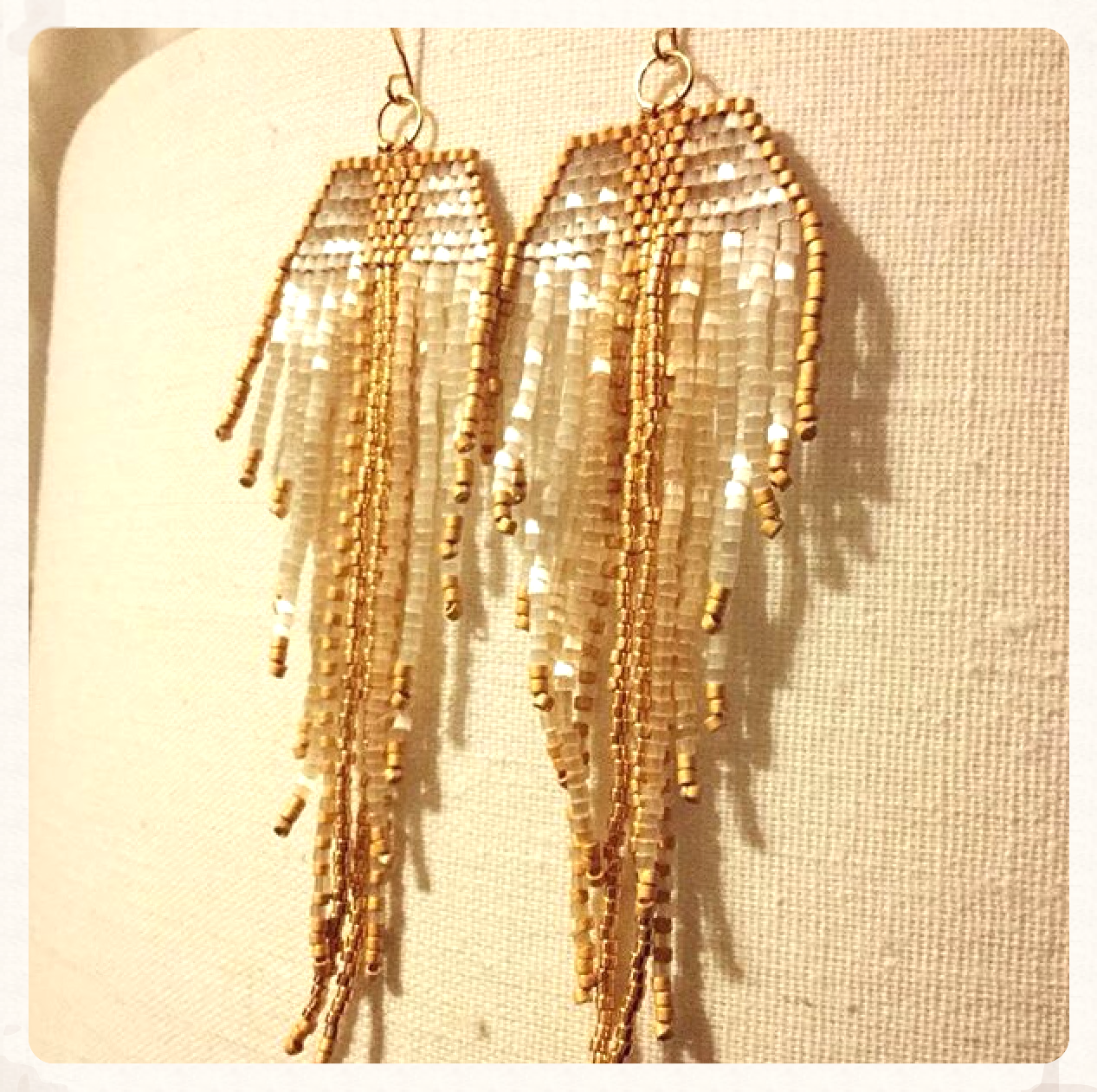 Extra Long Gold and Ivory Fringe