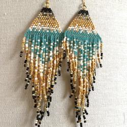 Extra Long Turquoise and Gold Fringe