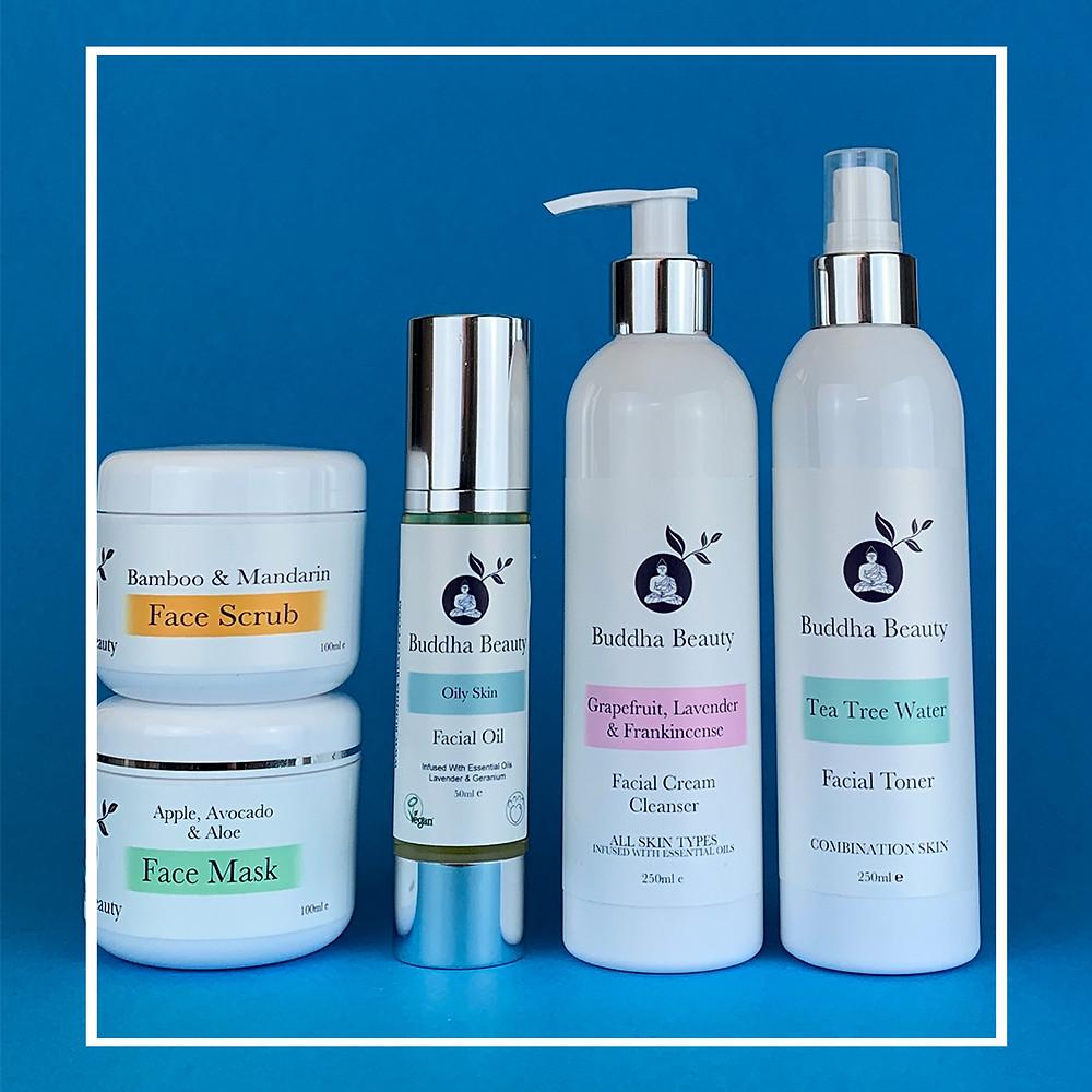 Bamboo & Mandarin Face scrub, Apple, Avocado & Apple Face Mask, Oily skin facial oil, GLF cleanser & Tea tree toner