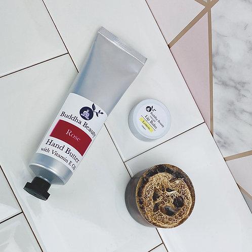 Hand Butter, Lip Balm & Loofah Soap Set
