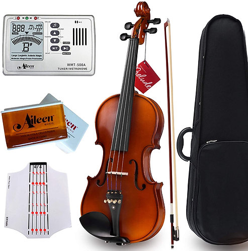 """Aileen """"Premium Beginner"""" Series Violin Outfit 4/4 Full Size Solid Wood"""