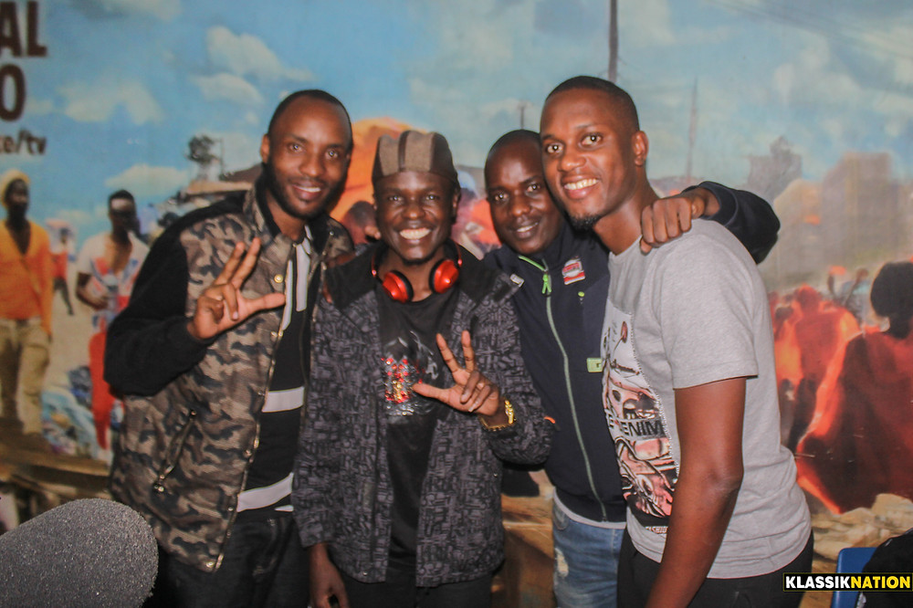 L-R: Chief Nathaniel Kimbio, President DON SANTO, Master General Ben Gumo and Deejay Double Trouble at Ghetto Radio 89.5.jpg