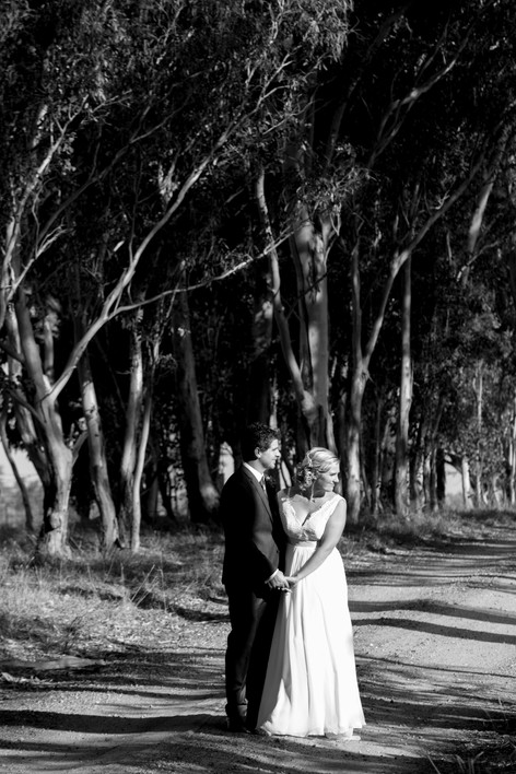 Country wedding bride and groom in the bush