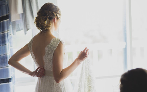 Wedding bride with an open back dress