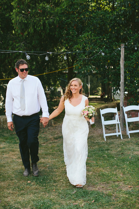 Country style wedding bride and groom