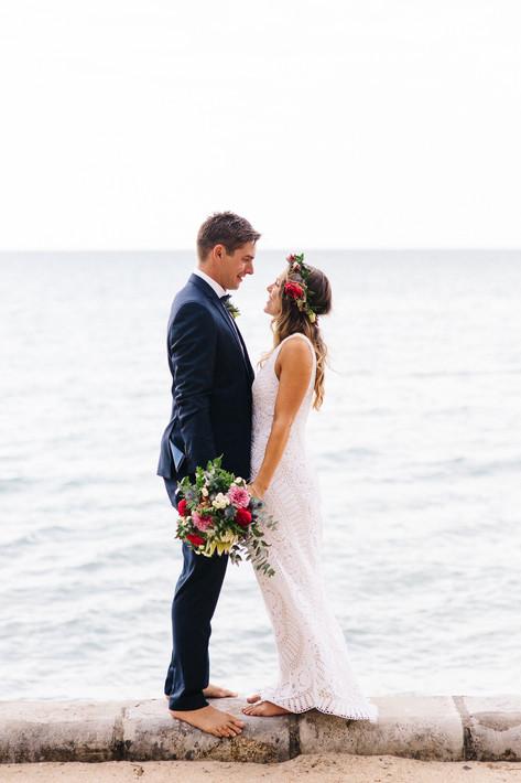 Mornington Beach Wedding bride and groom at the beach