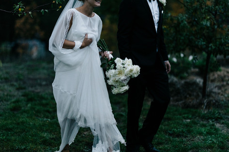 Churchill wedding in Macedon ranges, Victoria. Bride and groom in the country featuring Cathleen Jia Gigi top.