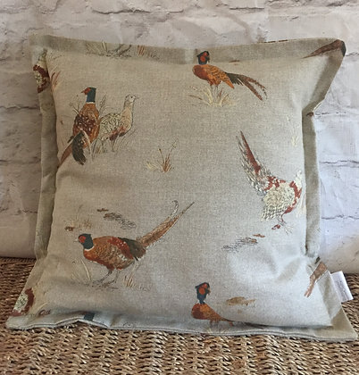 Pheasant linen scatter cushion