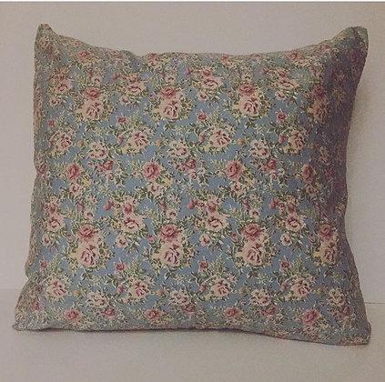 Blue vintage floral cushion