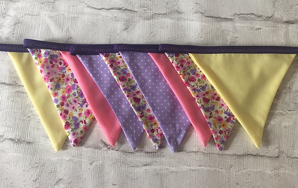 Floral, purples, pinks, yellow bunting