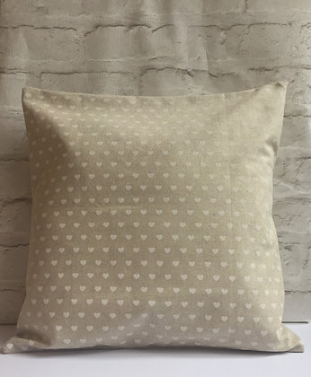 Natural linen white hearts cushion
