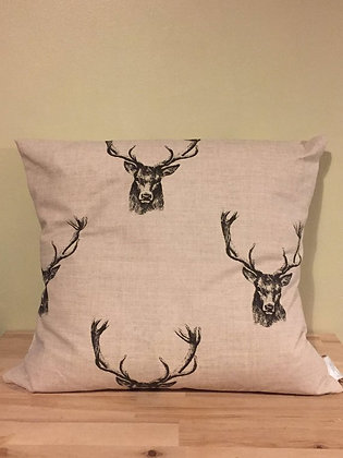 Stag linen cushion