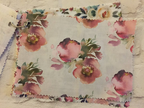Blush Anemone Buttonpearl Fabric - Watercolour Floral