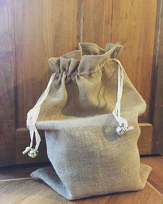Toy bag, natural hessian santa sack