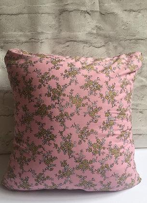 Pink, mustard yellow & grey floral cushion
