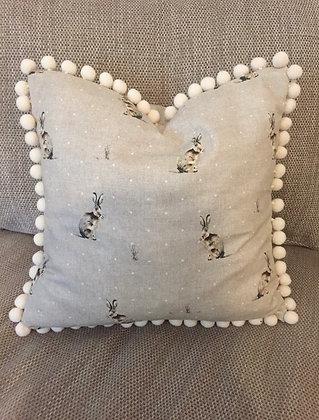 Hare pompom cushion