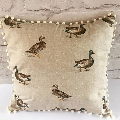 Mallard Duck pompom cushion