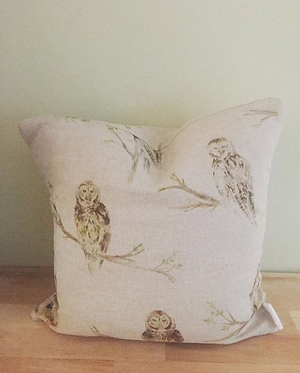 Owl linen cushion