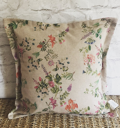 Floral natural linen cushion