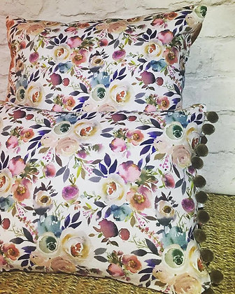 Buttonpearl Fabric Watercolour Floral Pom Pom Scatter Cushion