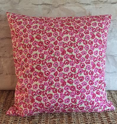 Poppy floral cushion