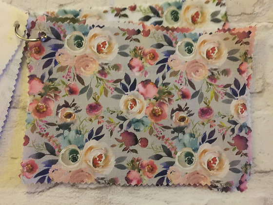 Buttonpearl Fabric - Watercolour Floral on grey