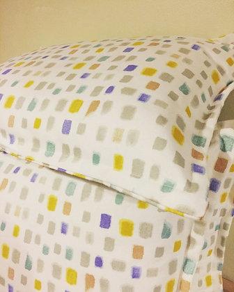 Blue Yellow Grey squares print rectangular cushion