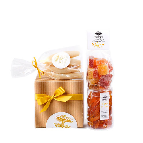 מארז מתנה טבעוני - מרציפן מרמלדה ותפוזים