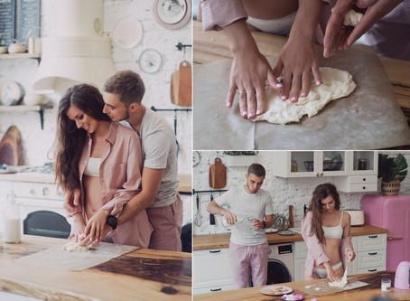 Лавстори на кухне, семейная фотосессия в Москве