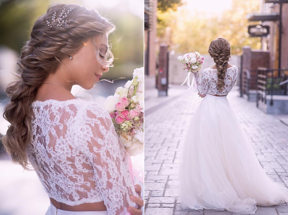 Красивая невеста в платье, портрет
