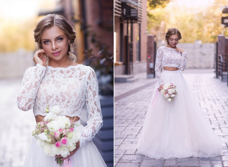 Красивая невеста, портретная фотосессия на улице в Москве