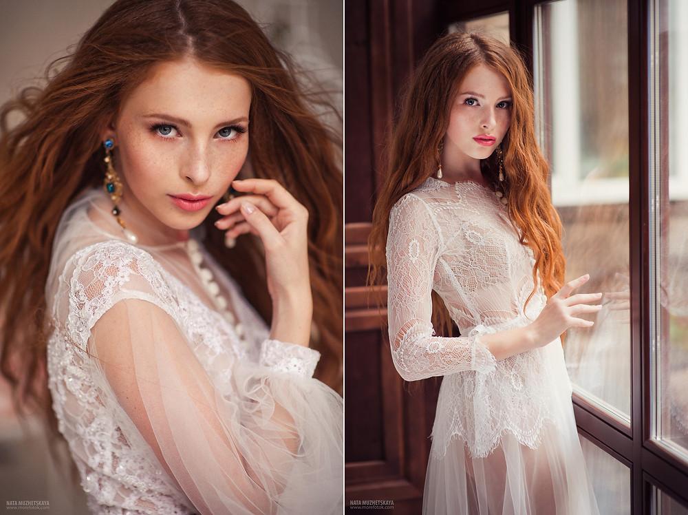 Невеста с длинными рыжеми волосами