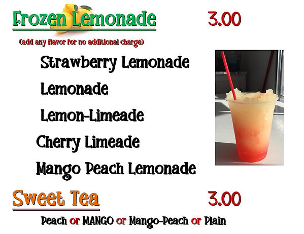 frozen drinks menu