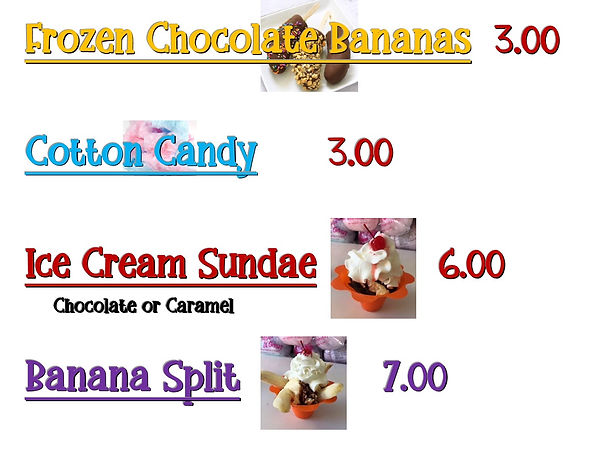 Ice Cream Menu