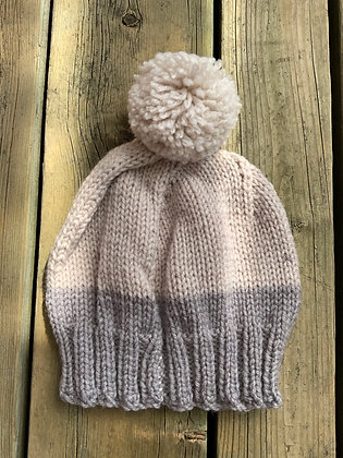 Two-Toned Pompom Hat