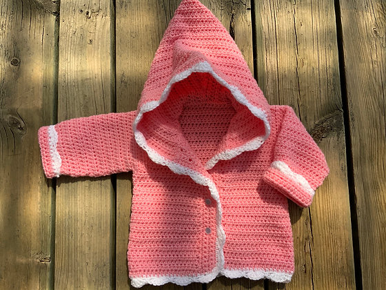 Scallop Edge Button Up Baby Hoodie