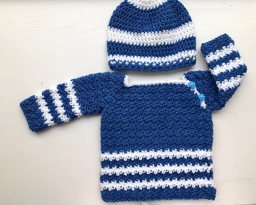 Stripe 2-Button Baby Sweater with Hat Set