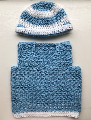 Basic Baby Vest with Hat Set