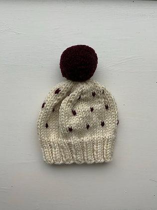 Dots Design Pompom Baby Hat