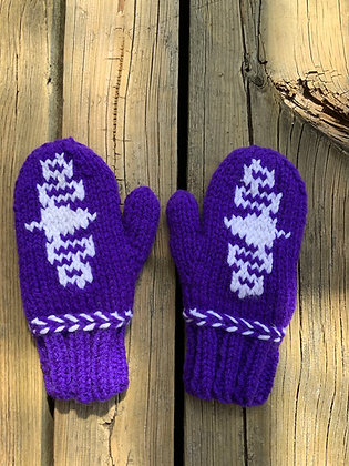 SMALL Child Sized Lined Wampum Mittens