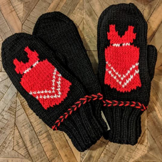Red dress mittens