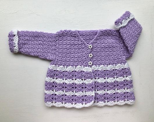 Lavender Flower 3-Button Baby Sweater