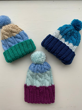 Three-Toned Baby Cable Hats