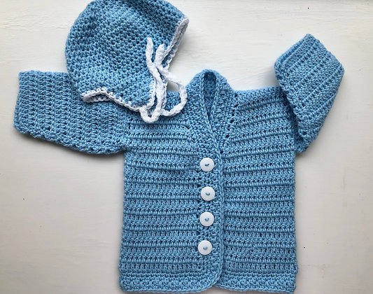 Baby V-Neck Sweater and Hat Set