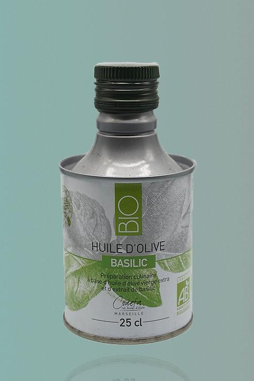 Virgin Olive Oil with Basilic - Huile d'Olive Vierge Extra au Basilic - 25cl