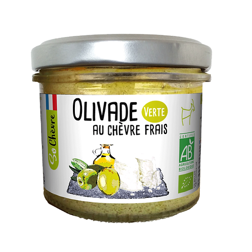 Fresh Goat Cheese with Green Olives, Organic - Olivade Verte au Chèvre Frais-90g