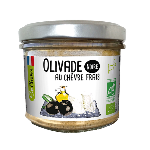 Fresh Goat Cheese with Black Olives, Organic - Olivade Noire au Chèvre Frais-90g